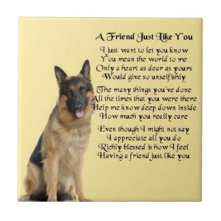 German Shepherd Dog Friend Poem Tile