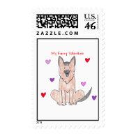 German Shepherd Dog Furry Valentine Postage