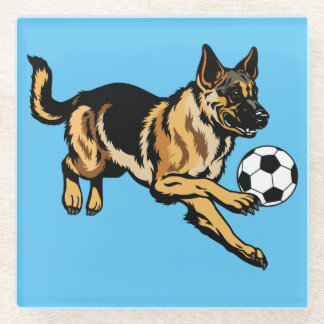 german shepherd dog glass coaster