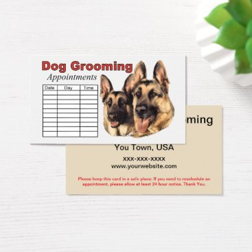 Professional Business German Shepherd Dog Grooming Appointment Business Card