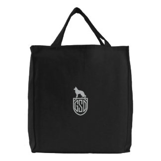 German Shepherd Dog GSD Silhouette with Monogram Embroidered Tote Bag