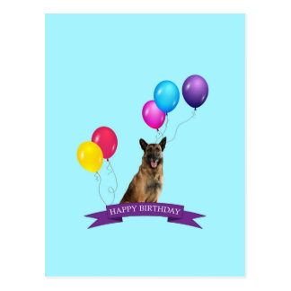 German Shepherd Dog Happy Birthday Postcard