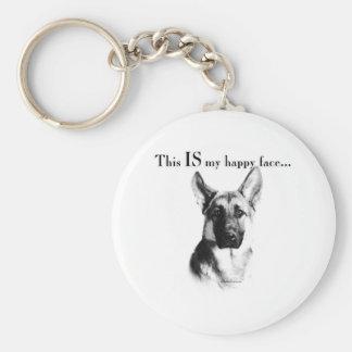 German Shepherd Dog Happy Face Basic Round Button Keychain