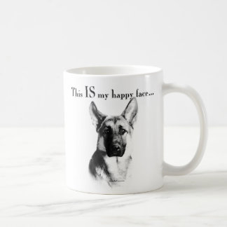 German Shepherd Dog Happy Face Coffee Mug