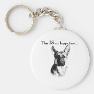 German Shepherd Dog Happy Face Key Chains