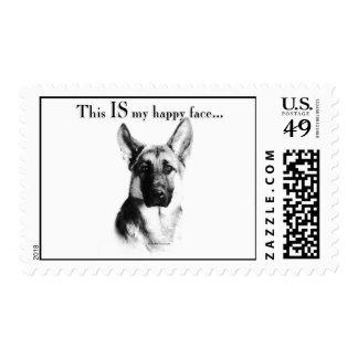 German Shepherd Dog Happy Face Postage Stamp