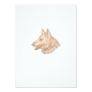 German Shepherd Dog Head Mono Line Card