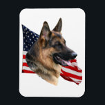 "German Shepherd Dog head with flag Magnet<br><div class=""desc"">A noble German Shepherd Dog head in front of a waving American flag on a flexible magnet.</div>"