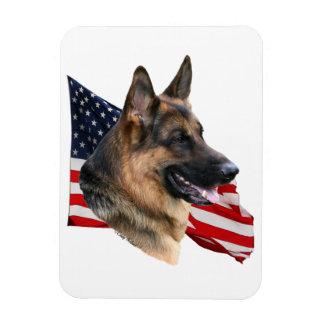 German Shepherd Dog head with flag Magnet