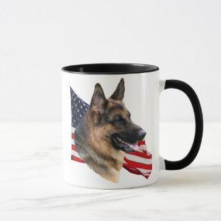 German Shepherd Dog head with flag Mug