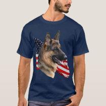 German Shepherd Dog headstudy with Flag Shirt