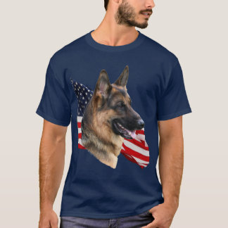 German Shepherd Dog headstudy with Flag Shirt