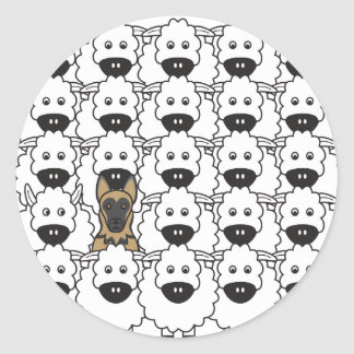 German Shepherd Dog in the Sheep Round Stickers
