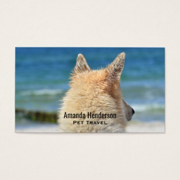Beach Themed German Shepherd Dog Looks Out Towards The Beach Business Card