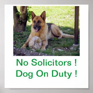 German Shepherd Dog No Solicitors Sign Poster