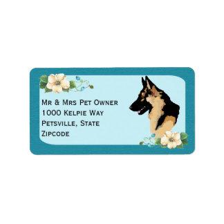 German Shepherd Dog on Turquoise Floral Label