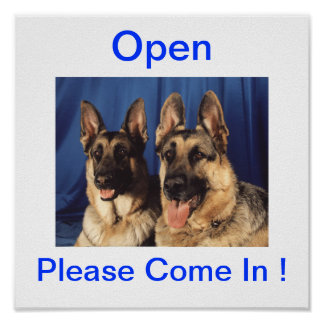 German Shepherd Dog Open Sign For Business Poster