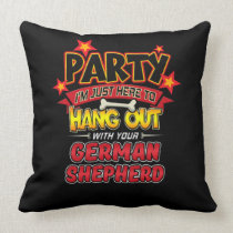 German Shepherd Dog Party Throw Pillow