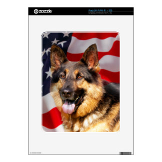 German shepherd Dog Patriot Red Blue White Decal For iPad