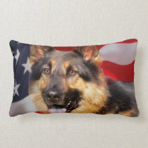 German shepherd Dog Patriot Red Blue White Lumbar Pillow