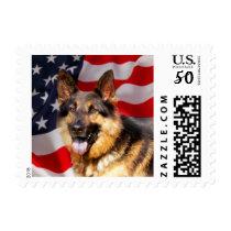 German shepherd Dog Patriot Red Blue White Postage