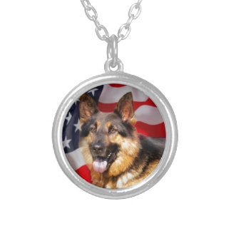 German shepherd Dog Patriot Red Blue White Silver Plated Necklace