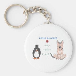 German Shepherd Dog Peace On Earth Basic Round Button Keychain