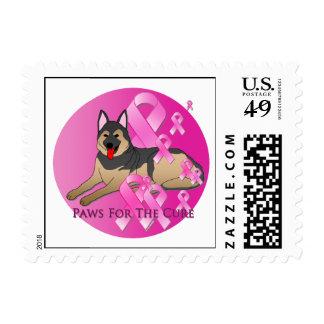 German Shepherd Dog Pink Ribbon Stamp