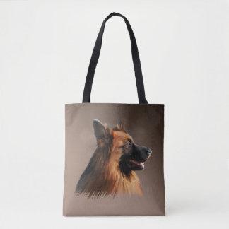 German Shepherd Dog Portrait Art Painting Tote Bag