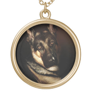 German Shepherd Dog Portrait Gold Plated Necklace