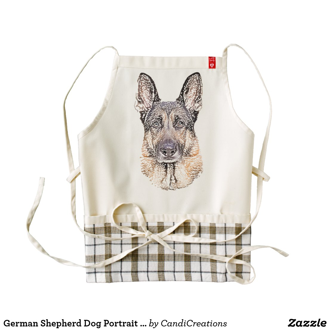 German Shepherd Dog Portrait Sketched Art Zazzle HEART Apron