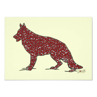 German Shepherd Dog + Red Hearts Flat Note Cards