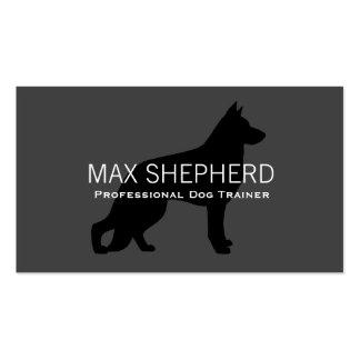 German Shepherd Dog Silhouette Black on Grey Business Card