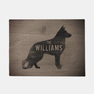 German Shepherd Dog Silhouette Custom Doormat