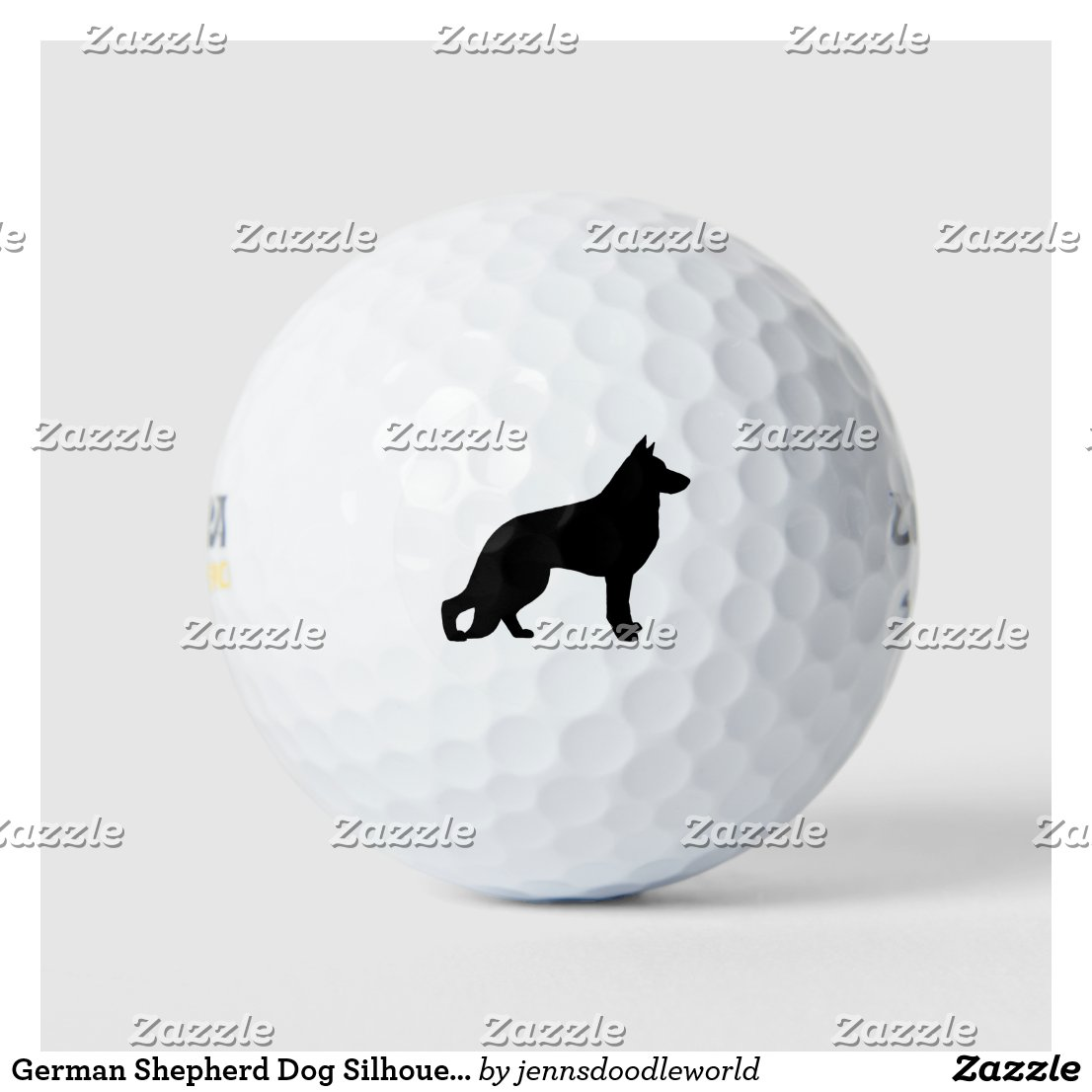 German Shepherd Dog Silhouette Golf Balls