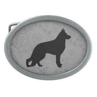 German Shepherd Dog Silhouette Oval Belt Buckle