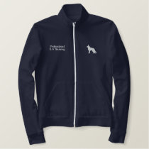 German Shepherd Dog Silhouette with Custom Text Embroidered Jacket