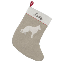 German Shepherd Dog Silhouette With Custom Text Small Christmas Stocking ...