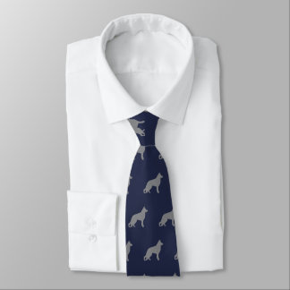German Shepherd Dog Silhouettes Pattern Blue Tie