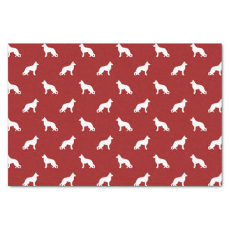German Shepherd Dog Silhouettes Pattern on Red Tissue Paper