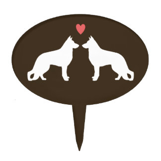 German Shepherd Dog Silhouettes with Heart Cake Topper
