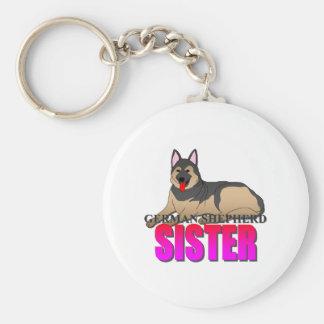 German Shepherd Dog Sister Basic Round Button Keychain