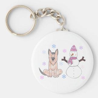 German Shepherd Dog & Snowman Basic Round Button Keychain