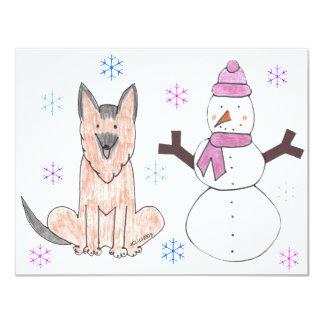 German Shepherd Dog & Snowman Card