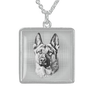 German Shepherd Dog Sterling Silver Necklace