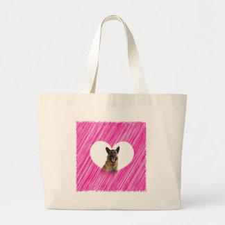 German Shepherd Dog Valentine Pink Heart Large Tote Bag