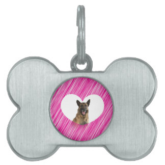 German Shepherd Dog Valentine Pink Heart Pet ID Tag