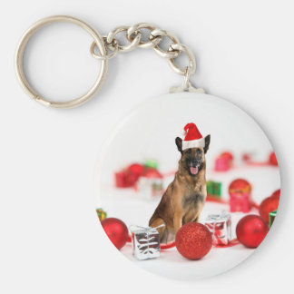 German Shepherd dog w Christmas Gifts Santa Hat Basic Round Button Keychain