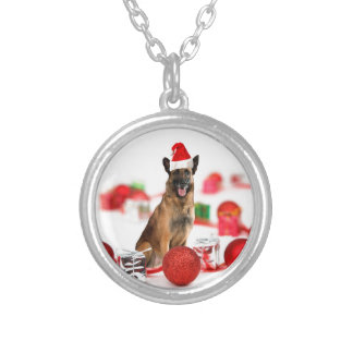 German Shepherd dog w Christmas Gifts Santa Hat Round Pendant Necklace