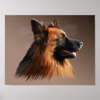 German Shepherd Dog Watercolor Art Portrait Poster